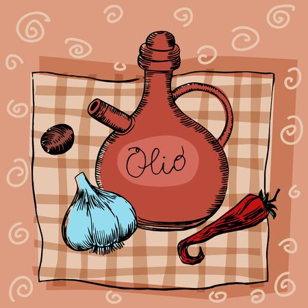 seasonings: Olive oil, garlic seasoning and pepper. The food on the tablecloth seasonings and spices Illustration