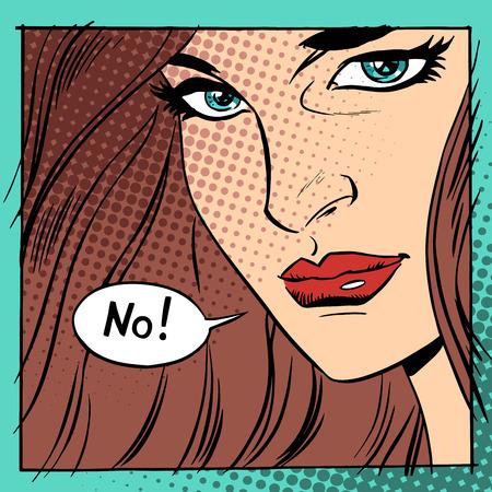 Mooie vrouw zegt nee. Retro-stijl het gezicht van een jong meisje