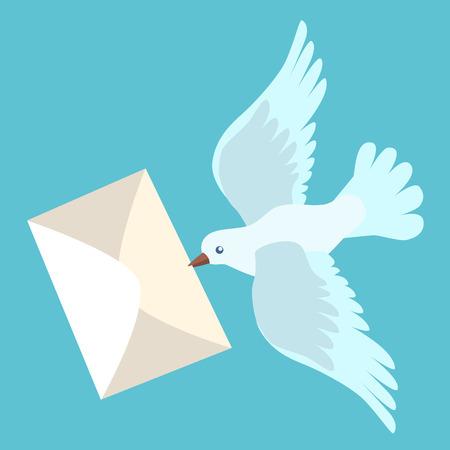 Witte postduif brengt een brief. Teken pictogram symbool