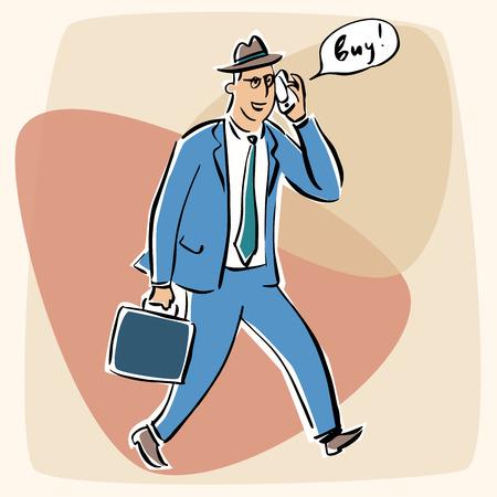 goodbye: Businessman talking on the phone goodbye retro style
