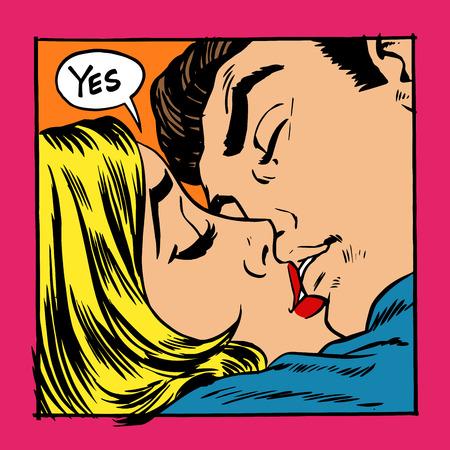 女性とキスをする男性。女の子はそうを言う