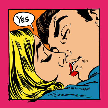 Woman and man kissing. The girl says Yes