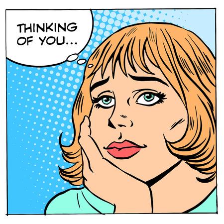 Droomt vrouwen over jou. Dik meisje romantiek liefde verhouding Stock Illustratie