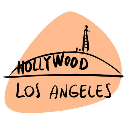 Los Angeles California USA Hollywood. A stylized image of the city tourism travel places