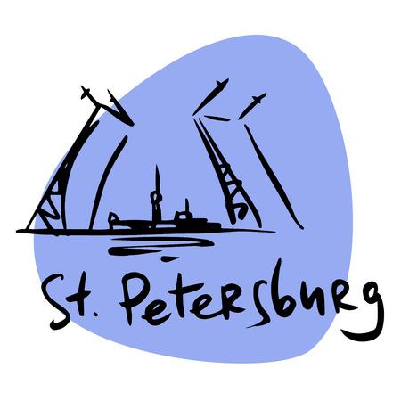 saint petersburg: Saint Petersburg Russia drawbridge Neva. A stylized image of the city tourism travel places