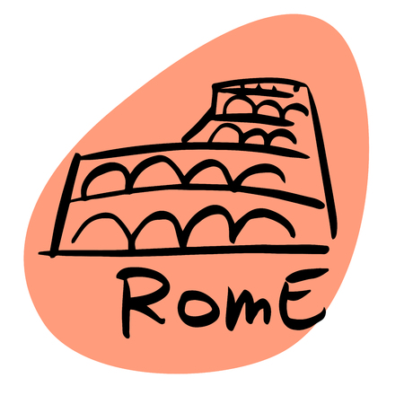 Rome the capital of Italy. A stylized image of the city tourism travel places Ilustrace