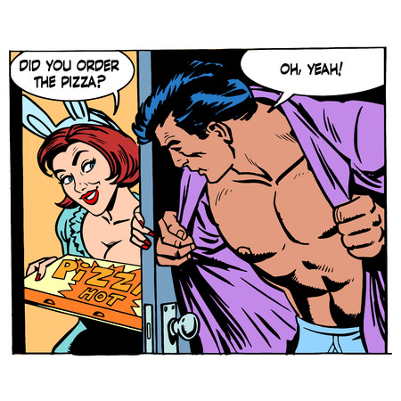 sex: Pizza delivery game sexual a man and a woman love romance. Retro style