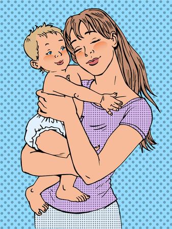 그녀의 팔에 아기와 엄마. 현대 즐거운 소녀 일러스트