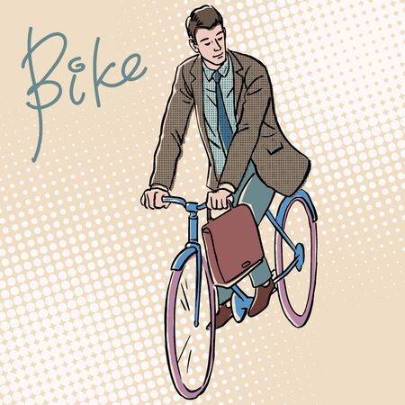 adult male: Businessman on Bicycle retro style pop art. White adult male goes to work Illustration