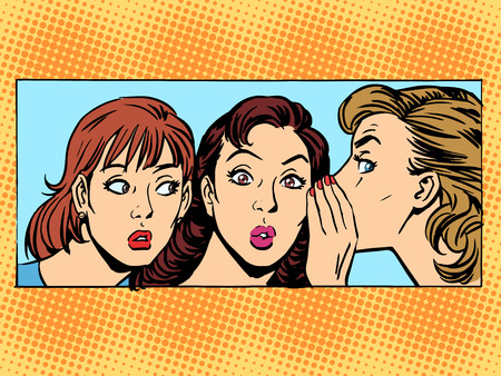 Gossip woman girlfriend retro style pop art Çizim