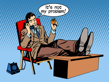 manager office: Businessman talks business concept is not my problem phone retro style pop art