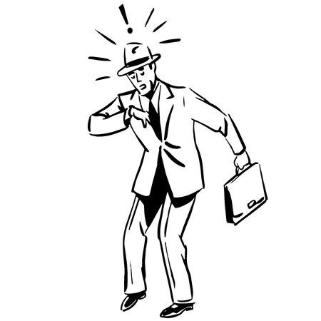 business suit: The late businessman looking at his watch during a business concept line art sketch Illustration