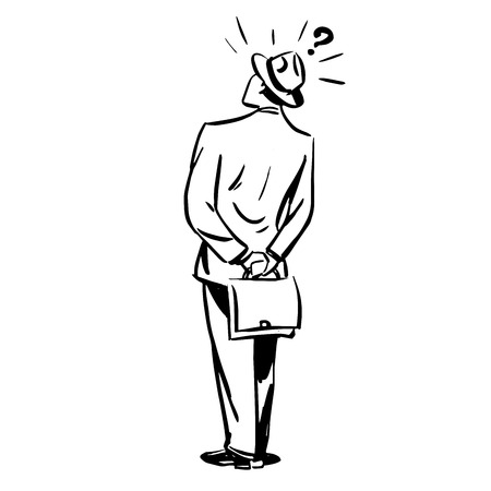 misunderstanding: Misunderstanding questions businessman standing with his back line art sketch