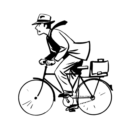 quickly: businessman quickly rides Bicycle line art retro sketch line art retro sketch pop art style