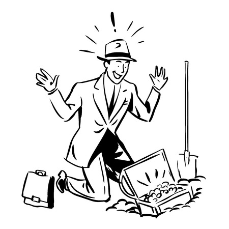 finance concept: Treasure hunter business Finance concept. The businessman found money. Line art retro style Illustration