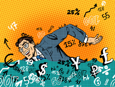 Businessman swimming in money business concept Finance banks in the market. Retro style pop art 일러스트