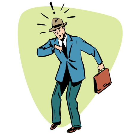 business people concept character comic retro style Ilustracja
