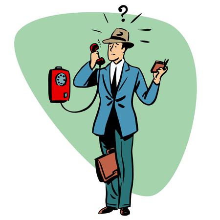 hablar por telefono: Hablar tel�fono comunicaci�n empresarios car�cter concepto de estilo retro comic Vectores