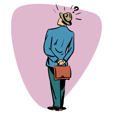 men back: Businessman viewer questions business people concept character comic retro style