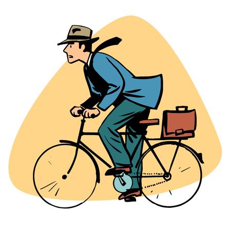 deportes caricatura: hombre de negocios que monta en bicicleta la gente de negocios concepto de car�cter estilo retro comic