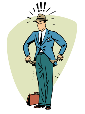 with no money: No money businessman beggar collapse Finance business people concept character comic retro style