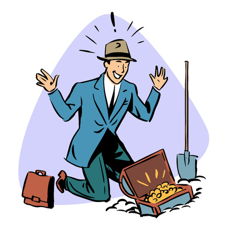people working: businessman found treasure business people concept character comic retro style