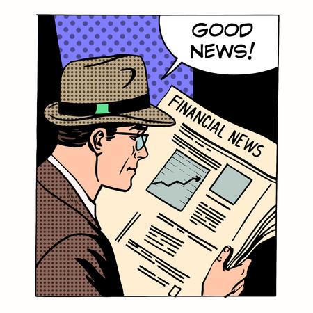 Good financial news businessman reading a newspaper. Retro style pop art. Business media Illustration