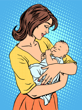 sons: Mother and newborn baby. Family love children pop art retro style