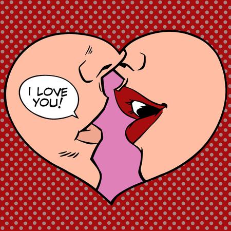 enamorados caricatura: Beso del coraz�n Te amo estilo del arte pop retro. El hombre y la mujer rom�ntica boda o el d�a de San Valent�n