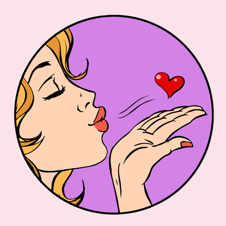 air kiss girl heart love pop art retro style
