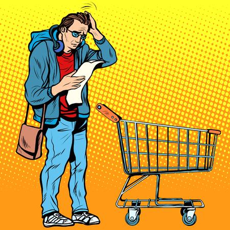 hombre caricatura: El comprador con un carrito de supermercado. El viaje a la tienda. Lista de la compra. Marido en la tienda