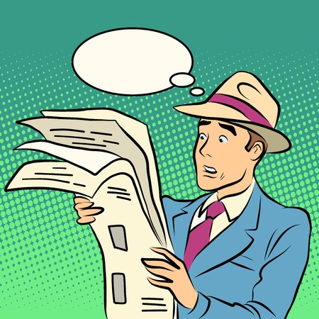 subscriber: Awesome news man reading a newspaper pop art retro style. The press and journalists. News and media Illustration
