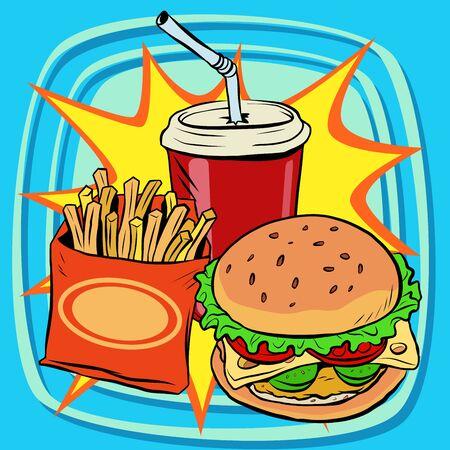 nourishing: fast food fries burger drink cola pop art retro vector. Street restaurant. Nourishing food. Retro food Illustration