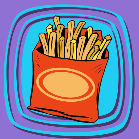 unhealthy thoughts: Fries fast food pop art retro vector. French fries. Potato straws. Fried potatoes