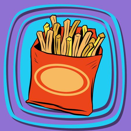 fried potatoes: Fries fast food pop art retro vector. French fries. Potato straws. Fried potatoes