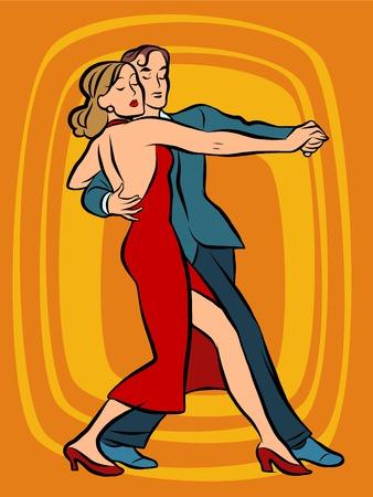 Couple dancing tango pop art retro vector. Art, hobby and music. Man and woman dancing. Dancers. Concert performance evening Illustration