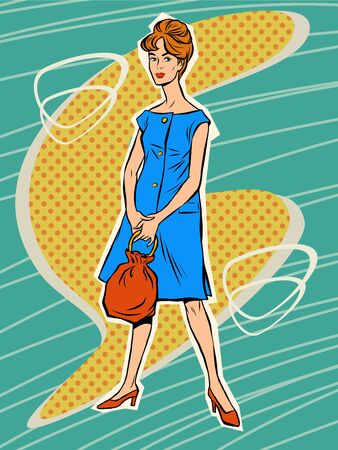 sixtieth: Beautiful woman in retro dress. Vector illustration. Fashionable girl. Vector retro woman