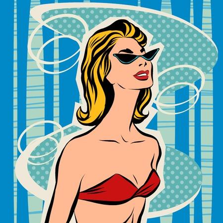 beachwear: Beautiful girl sunbathes in bikini. Woman on the beach in the summer. Beachwear. Sunglasses and bra swimsuit Illustration