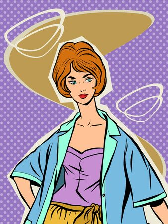 sixties: Beautiful girl in a summer retro clothing. Vector portrait of a young woman. Fashionista in the style of the sixties Illustration