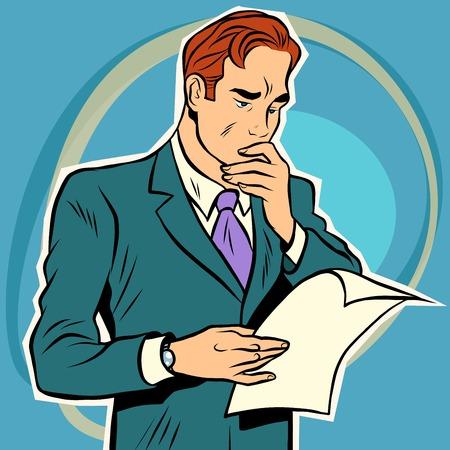 男の読むドキュメント。手紙を読むビジネスマン。手動