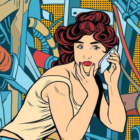 woman at the phone: Modern woman phone background industrial landscape. Modern communications