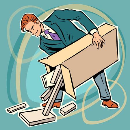 assembling: man box prefabricated parts designer. Assembling furniture. Toy designers Illustration