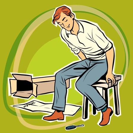assembling: Screwdriver male furniture designer. Assembling furniture. Toy designer