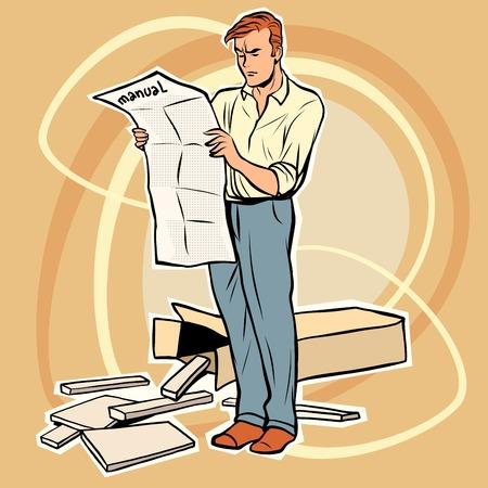 assembling: man manual assembling furniture. The toy designer. Furniture Assembly