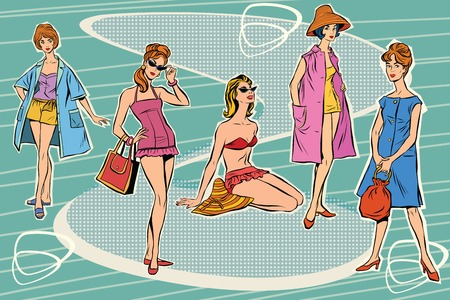 catwalk model: Set beautiful retro woman pop art. Summer beach beauties. The rest of the sea. Tourism and journey. The summer season. Fashion and beauty. Beach fashion