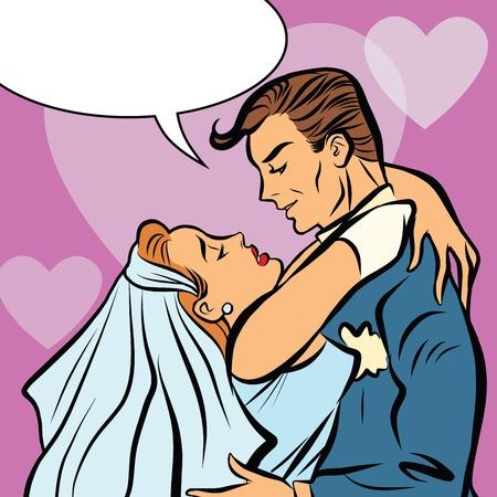 Wedding Bride And Groom Love Heart Hug Retro Pop Art True Loves Kiss Postcard