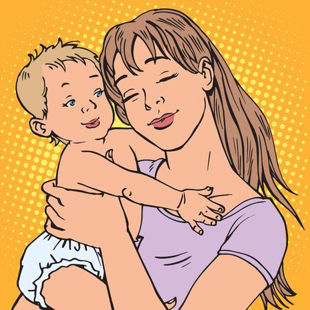 mom and pop: young mother baby retro pop art. The children and parents. maternal concern about the baby. Mom illustration