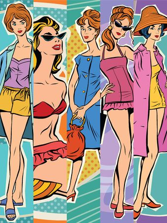 Set beautiful retro woman pop art. Summer beach beauties. The rest of the sea. Tourism and journey. The summer season. Fashion and beauty. Beach fashion
