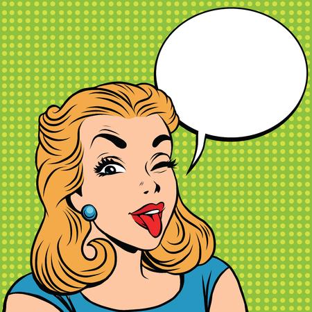 prankster: Emoji retro tongue girl emoticons. Pop art illustration. Emoji woman. Emotions girl face. Retro Emoji girl