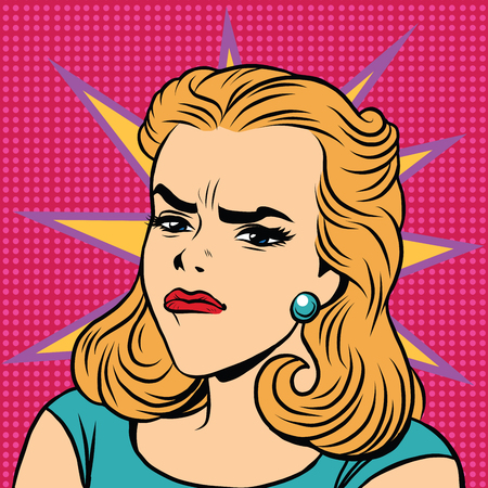disgust: Emoji retro anger disgust girl emoticons. Pop art illustration. Emoji woman. Emotions girl face. Retro Emoji girl